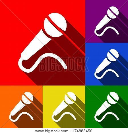 Microphone sign illustration. Vector. Set of icons with flat shadows at red, orange, yellow, green, blue and violet background.
