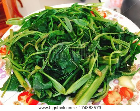 Rau Muong Or Boiled Vietnamese Morning Glory Vegetables On Dish