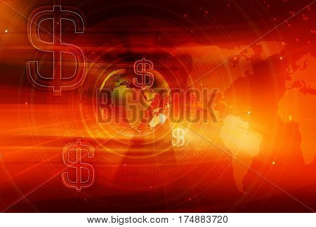 Graphical Finance and Global Business red Background with Earth Globe and Round Circles and Dollar Signs. 3d illustration 3d render
