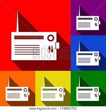 Radio sign illustration. Vector. Set of icons with flat shadows at red, orange, yellow, green, blue and violet background.