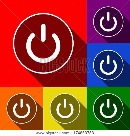 On Off switch sign. Vector. Set of icons with flat shadows at red, orange, yellow, green, blue and violet background.