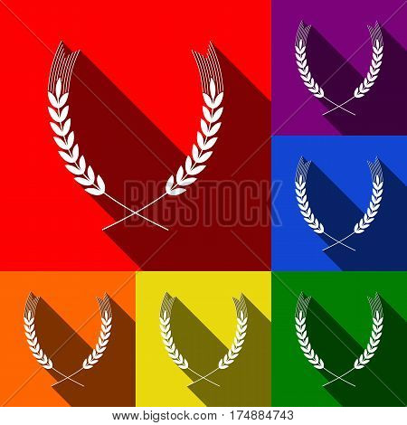 Wheat sign illustration. Spike. Spica. Vector. Set of icons with flat shadows at red, orange, yellow, green, blue and violet background.