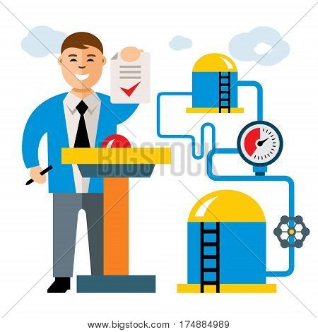 Manager with contract and storage. Isolated on a white background