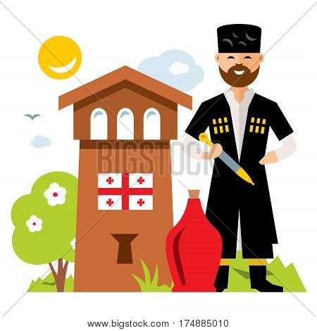 Georgian man in national dress, the old tower. Isolated on a white background