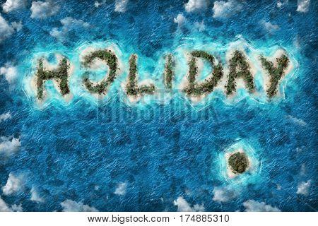 Island holiday shape travel destination