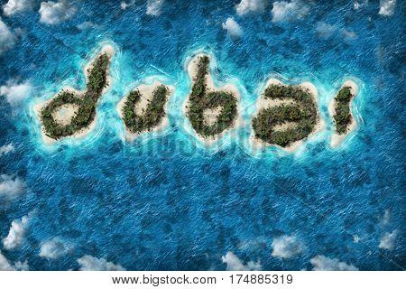 Island Dubai shape travel destination