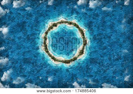 Island circle shape travel destination