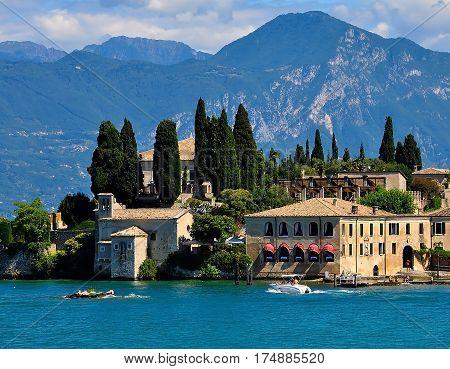 Beautiful view of Riva del Garda Lake Garda Italy