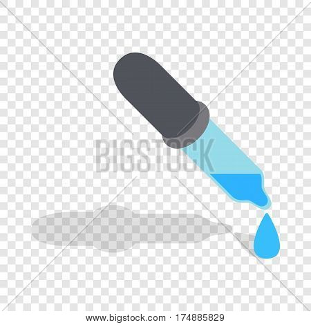 Pipette with drops isometric icon 3d on a transparent background vector illustration
