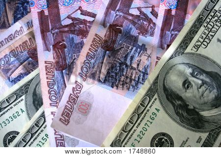 Russian And Us Banknotes
