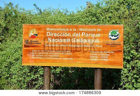 Galapagos National Park Sign