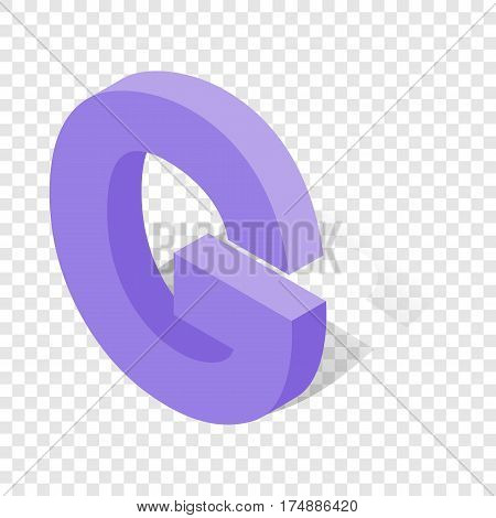 G letter in isometric 3d style with shadow. Violet G letter vector illustration