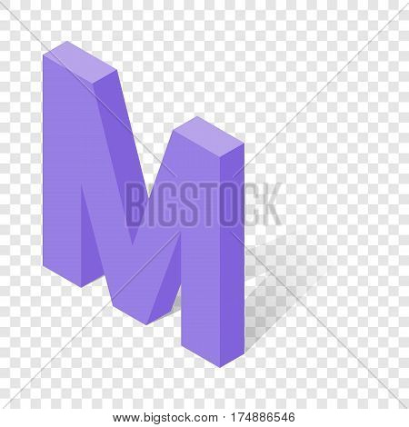 M letter in isometric 3d style with shadow. Violet M letter vector illustration