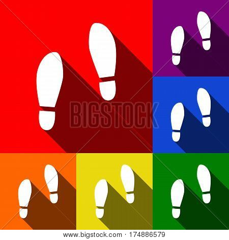 Imprint soles shoes sign. Vector. Set of icons with flat shadows at red, orange, yellow, green, blue and violet background.