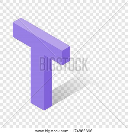 T letter in isometric 3d style with shadow. Violet T letter vector illustration