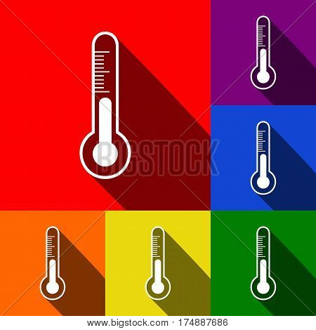 Meteo diagnostic technology thermometer sign. Vector. Set of icons with flat shadows at red, orange, yellow, green, blue and violet background.
