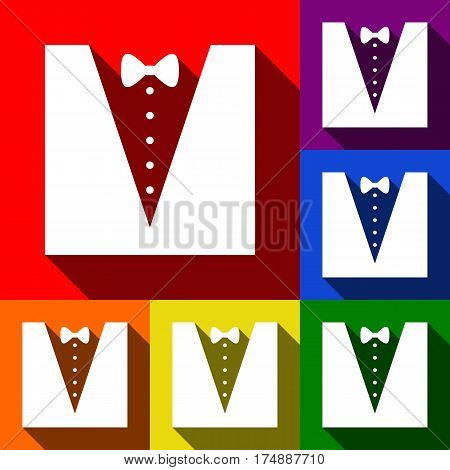 Tuxedo with bow silhouette. Vector. Set of icons with flat shadows at red, orange, yellow, green, blue and violet background.