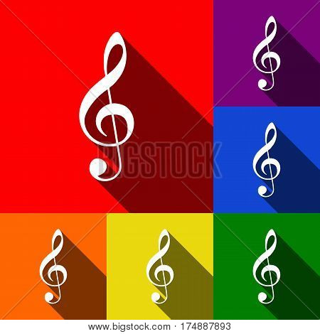 Music violin clef sign. G-clef. Treble clef. Vector. Set of icons with flat shadows at red, orange, yellow, green, blue and violet background.