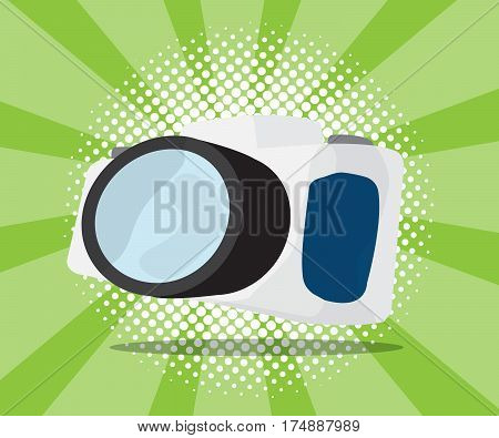 abstract digital camera with half tone background vector illustration
