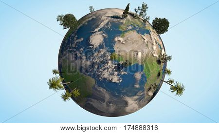 3D Earth globe with different realistic trees on it. Realistic clouds layer. Nature, ecology and environment concept. 3D rendering.