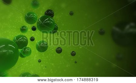 Abstract green organic liquid or glass bubble particles evolving. 3D rendering.