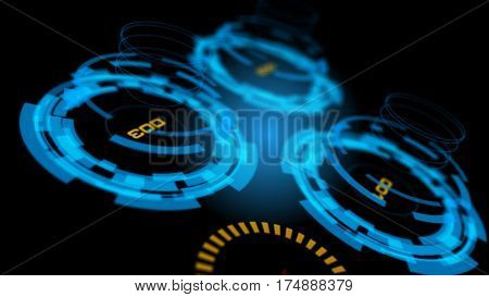 3D blue abstract advanced technology control panel user interface background. Depth of field settings. 3D rendering.