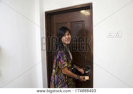 Traveler Thai Woman Use Key Card Open The Door In Hotel