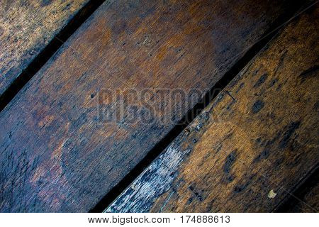 Obsolete wood board closeup. Rough lumber surface. Warm brown wooden background for shabby chic design. Timber texture closeup. Wooden table wallpaper or backdrop photo. Natural timber banner template