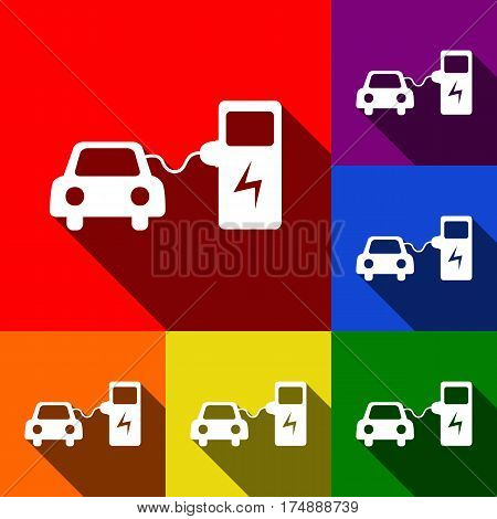 Electric car battery charging sign. Vector. Set of icons with flat shadows at red, orange, yellow, green, blue and violet background.