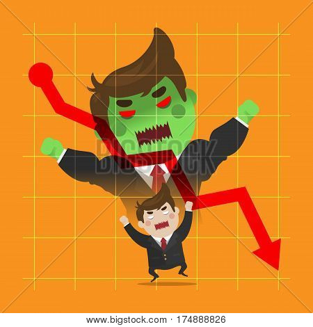 Businessman very angry transformation to be green giant from his loss. cute flat style vector business