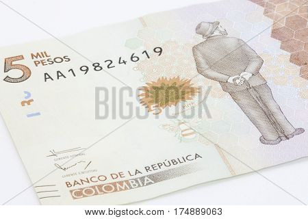 Five Thousand Colombian Pesos Bill Issued on 2016