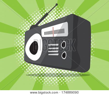 abstract radio icon with half tone background vector illustration