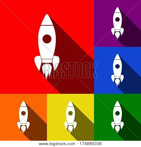 Rocket sign illustration. Vector. Set of icons with flat shadows at red, orange, yellow, green, blue and violet background.