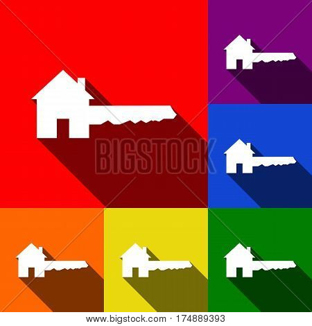 Home Key sign. Vector. Set of icons with flat shadows at red, orange, yellow, green, blue and violet background.