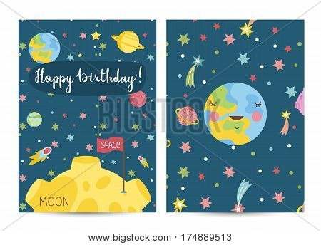 Happy birthday cartoon greeting card on space theme. Sleeping Earth with smile surrounded by stars and planets, Moon with flag on surface vector illustration. Invitation on childrens costumed party
