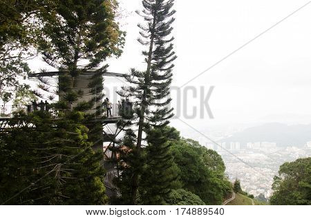 People Travel And Looking Of Penang City From Tower Viewpoint Of Penang Hill
