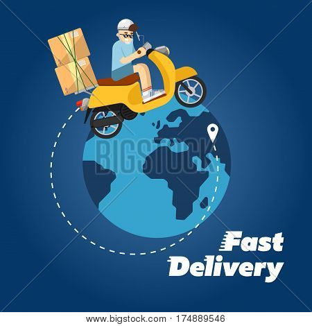 Delivery boy riding yellow scooter with cardboard boxes on background of globe. Fast delivery banner, vector illustration. Motorcycle courier service. Worldwide shipping and moving concept.