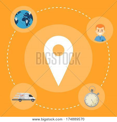 Map pointer with delivery icons around on orange background. Fast delivery banner, vector illustration. Professional courier service. Shipping and moving concept. Pin pointer icon