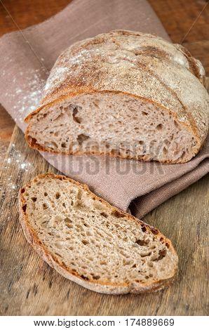 Freshly Baked Homemade Artisan Sourdough Rye And White Flour Bread.