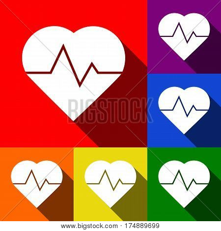 Heartbeat sign illustration. Vector. Set of icons with flat shadows at red, orange, yellow, green, blue and violet background.
