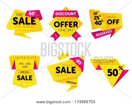 Special offer sale tag discount symbol retail sticker sign price set isolated on white background, modern graphic style vector illustration. Big sale with wow offer badge set