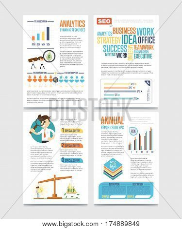 Business infographics banner set with charts vector illustration. Business seo statistics, dynamic resources, planning and analytics concept, annual report template. Data visualization, chart, graph.
