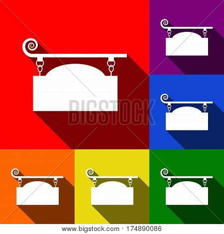 Wrought iron sign for old-fashioned design. Vector. Set of icons with flat shadows at red, orange, yellow, green, blue and violet background.