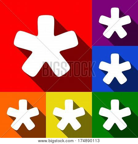 Asterisk star sign. Vector. Set of icons with flat shadows at red, orange, yellow, green, blue and violet background.