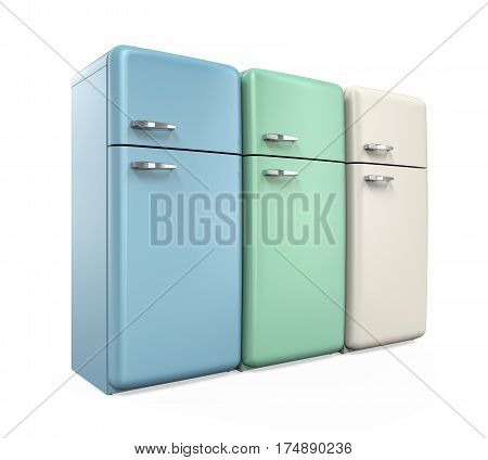 Retro Refrigerators isolated on white background. 3D render
