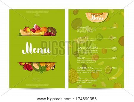 Vegan cafe food menu design vector illustration. Vegetarian restaurant menu, price catalog of natural nutrition, organic food shop, healthy diet retail. Green menu card template with fruit elements