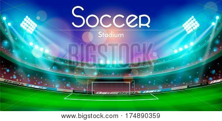 The vector illustration of an arena in night with soccer stadium text. Football