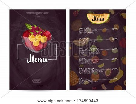 Vegan cafe food menu design vector illustration. Vegetarian restaurant menu, price catalog of healthy nutrition, natural sweet food, organic shop poster. Menu card template with fruit in glass bowl