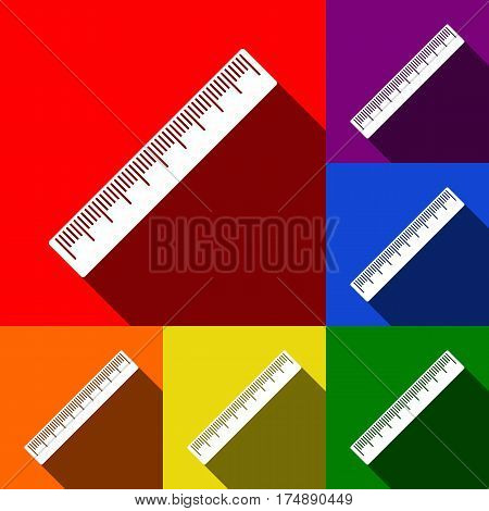 Centimeter ruler sign. Vector. Set of icons with flat shadows at red, orange, yellow, green, blue and violet background.
