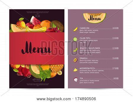 Vegetarian restaurant food menu design vector illustration. Vegan cafe menu, price catalog of natural nutrition, organic food shop, healthy diet retail. Green menu card template with fruit elements